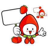Strawberry mascot the right hand guides and the left hand is hol Royalty Free Stock Photos