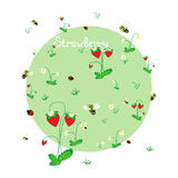 Strawberry meadow with animals. Forest background. Print for children. Background for kids Royalty Free Stock Photos
