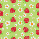 Strawberry meadow. Berries and flowers. Stock Photo
