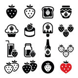 Strawberry, meals - food and drinks icons set Royalty Free Stock Photos