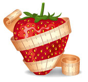 Strawberry in a measuring tape Royalty Free Stock Images