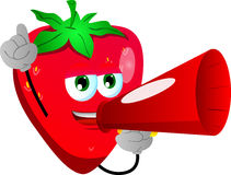 Strawberry with megaphone Royalty Free Stock Image