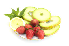 The strawberry and melon Stock Photo