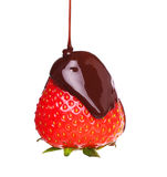 Strawberry in melted chocolate Royalty Free Stock Photo