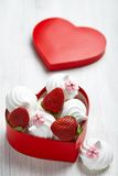 Strawberry and meringue for Valentine's Day Royalty Free Stock Image