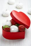 Strawberry and meringue for Valentine's Day Royalty Free Stock Photography
