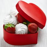 Strawberry and meringue for Valentine's Day Stock Photography