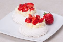 Strawberry Meringues Dessert Pavlova. With Cream Royalty Free Stock Image