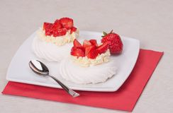 Strawberry Meringues Dessert Pavlova. Sweet Strawberry Meringues Dessert Pavlova Royalty Free Stock Photos