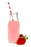 Strawberry milk in bottle isolated Stock Images