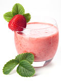 Strawberry milk cocktail. On white background Stock Photography