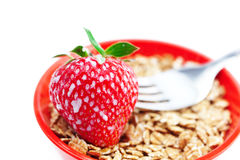 Strawberry,milk,fork and wheat Stock Photography