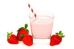 Strawberry milk in glass with berries Royalty Free Stock Photos