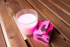 Strawberry milk,glass of milk. Stock Photography