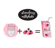 Strawberry milk graphic banner design , vector illustration with stylish milk box, glass and pink berry. Royalty Free Stock Photo