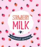 Strawberry milk graphic design , vector illustration. Stock Photos