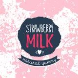 Strawberry milk graphic design , vector illustration. Royalty Free Stock Photos