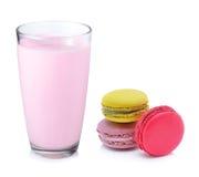 Strawberry milk and macaroon Royalty Free Stock Photo