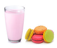 Strawberry milk and macaroon Stock Photo