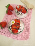 Strawberry milk quark wit cacao nibs Stock Photo