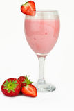 Strawberry milk shake. Isolated on white Royalty Free Stock Photo