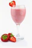 Strawberry milk shake. Isolated on white Royalty Free Stock Photography