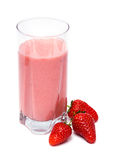 Strawberry milk shake. Strawberry milkshake with three strawberries isolated on white background Stock Images