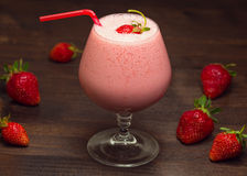 Strawberry milk shake. Strawberry milk cocktail on the table Stock Photography