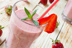 Strawberry milk shake. Food close up Royalty Free Stock Photos