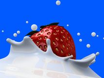 Strawberry milk splash Stock Photo