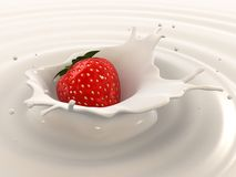 Strawberry milk splash Royalty Free Stock Images