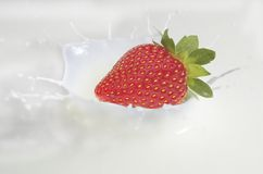 Strawberry in milk Royalty Free Stock Images