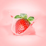 Strawberry milk or yogurt splash. Royalty Free Stock Photos