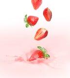 Strawberry milk or yogurt splash. Stock Image