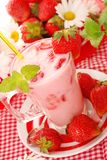 Strawberry  milkshake Stock Photos