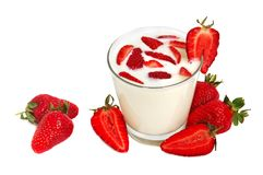Strawberry milkshake Stock Images