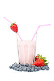 Strawberry milkshake with blueberries Royalty Free Stock Photography