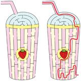 Strawberry milkshake maze. Easy Strawberry milkshake maze for younger kids with a solution Stock Photography
