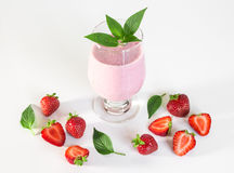 Strawberry milkshake with mint Stock Photography