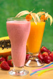 Strawberry Milkshake and Papaya Juice Royalty Free Stock Photos