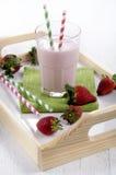 Strawberry milkshake on a serving tray Stock Image