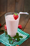 Strawberry milkshake smoothie with fresh strawberry Stock Image