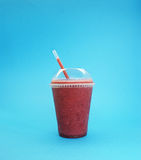 Strawberry milkshake. Strawberry Smoothie , served in plastic cup and straw Stock Photography