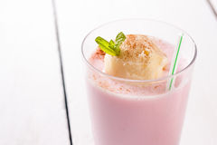 Strawberry milkshake with vanilla ice cream Stock Images