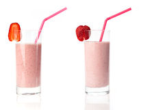Strawberry milkshake variations Royalty Free Stock Photos