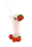 Strawberry milkshakes. And strawberries isolated on white stock photography