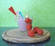 Strawberry milkshakes. One glasses of strawberry milkshake stock photography