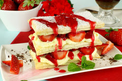 Strawberry Mille Feuille. Delicious strawberry mille feuille with fresh strawberries and Vienna coffee Stock Photos
