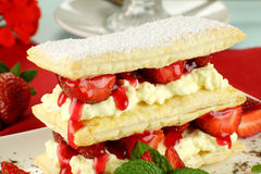 Strawberry Mille Feuille Stock Photography