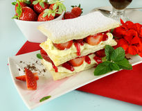 Strawberry Mille Feuille Royalty Free Stock Images